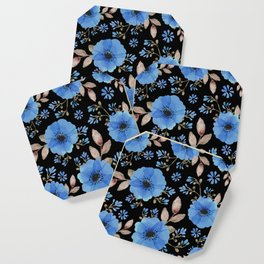 Blue flowers with black Coaster
