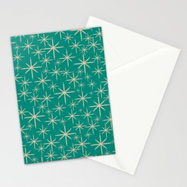Stella - Retro Atomic Age Starbursts in Midcentury Modern Beige and Turquoise Teal Stationery Cards