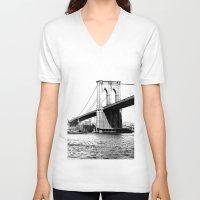 brooklyn bridge V-neck T-shirts featuring Brooklyn Bridge by Amy Giacomelli