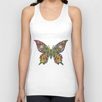 psychedelic art Tank Tops featuring Butterfly Psychedelic Art Design by BluedarkArt