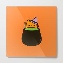 Cat bat with cauldron Metal Print