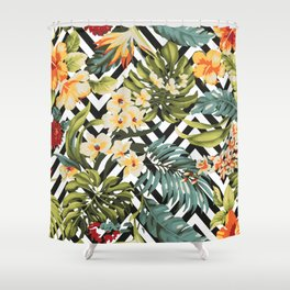 Flowered Chevron Shower Curtain