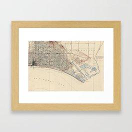 Vintage Map of Long Beach California (1923) Framed Art Print