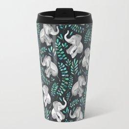 Laughing Baby Elephants – emerald and turquoise Travel Mug