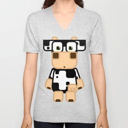 Super cute cartoon cow in black and white - a moo-st have design for  cow enthusiasts! Unisex V-Neck