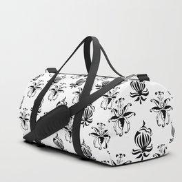 Vintage black white elegant floral damask Duffle Bag
