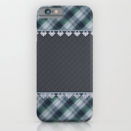 Blue plaid, plaid blanket, gray pattern, patchwork, folklore,  rustic style, elegant pattern, plaid iPhone Case