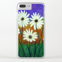 White daisies-Abstract Clear iPhone Case