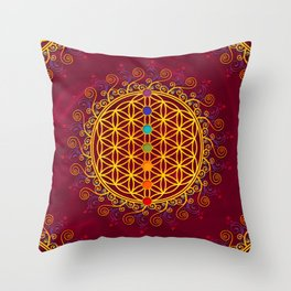 FLOWER OF LIFE, CHAKRAS, SPIRITUALITY, YOGA, ZEN, Throw Pillow