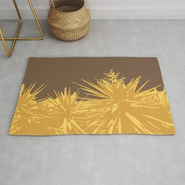 Mustard yucca leaves on toffee background Rug