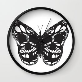 Butterfly skulls Wall Clock