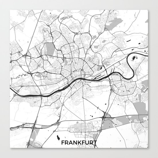 Frankfurt City Map Gray Canvas Print