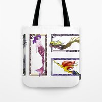 mermaids Tote Bags featuring Mermaids by Andrea Palagiano