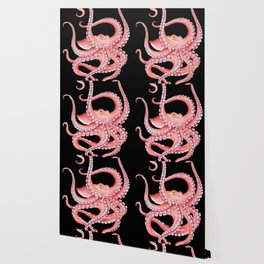 Red Octopus Tentacles Dance Watercolor Black Wallpaper