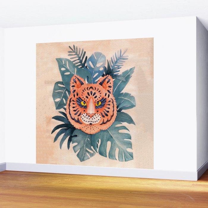 Tiger Mandala In The Jungle Watercolor Wall Mural