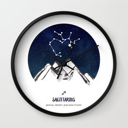 Astrology Sagittarius Zodiac Horoscope Constellation Star Sign Watercolor Poster Wall Art Wall Clock