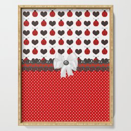 Ladybug and Hearts Serving Tray