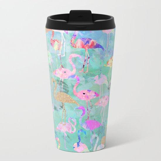 Flamingo Party  Metal Travel Mug