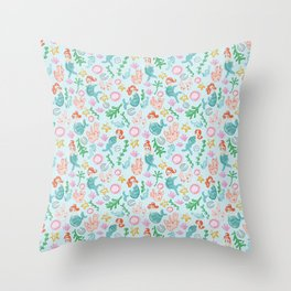 Mermaids and sea creatures Throw Pillow