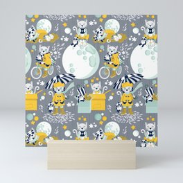 The cat who loves rainy nights Mini Art Print