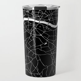 Black on White London Street Map II Travel Mug