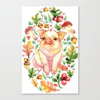 piglet Canvas Prints featuring Piglet by Achtung