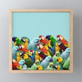 Sky blue parrots home decor Framed Mini Art Print