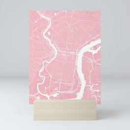 Philadelphia, PA, City Map - Pink Mini Art Print
