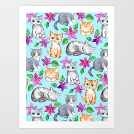 Kittens and Clematis - blue Art Print