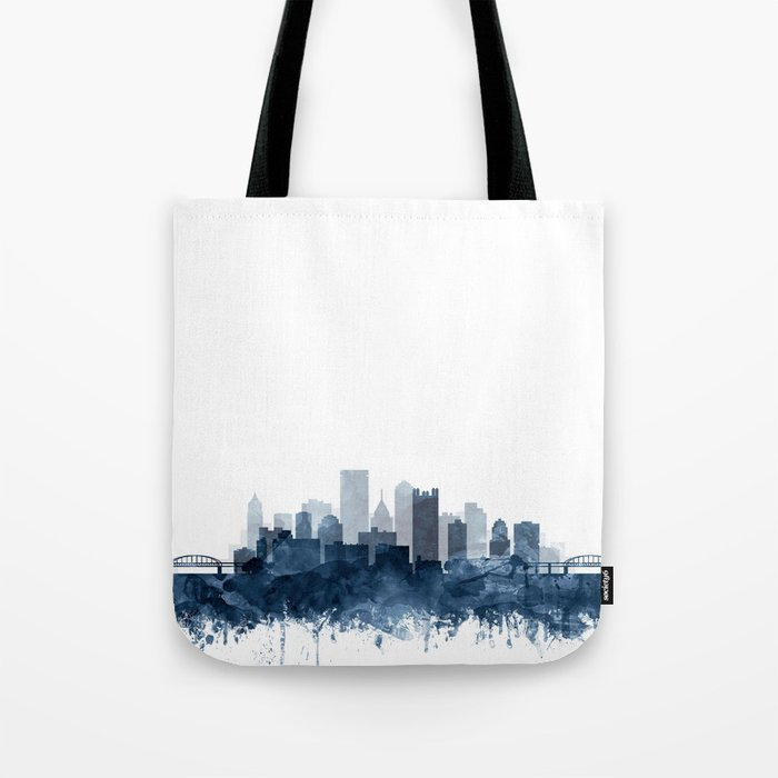 Pittsburgh City Skyline Watercolor Blue by Zouzounio Art Tote Bag