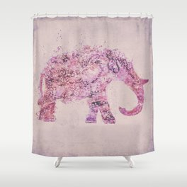 Pink Elephant Mixed Media Art Shower Curtain