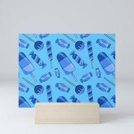 Cute Candy Lollies Sweets Pattern In Blue Girls Kids Decor Mini Art Print