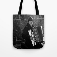 Accordion Busking on Howth Bay Tote Bag
