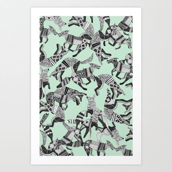 woodland fox party mint Art Print