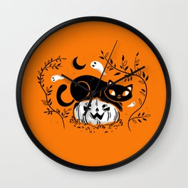 Spooky Cat - Mid Century Vintage Orange Wall Clock