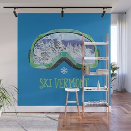 Ski Vermont Ski Goggles — Green Wall Mural