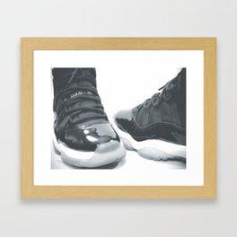 AJ 11 Retro B&W Framed Art Print