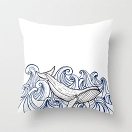 Whale Then Throw Pillow