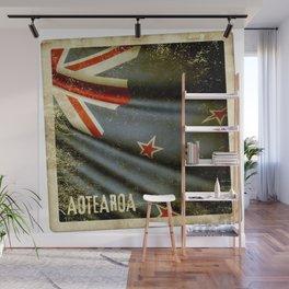 Grunge sticker of New Zealand flag Wall Mural