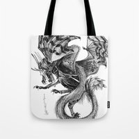tomb raider Tote Bags featuring Raider by Rosanna P. Brost