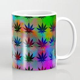Techno Neon Pot Leaves Coffee Mug