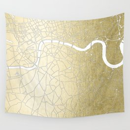 Gold on White London Street Map II Wall Tapestry