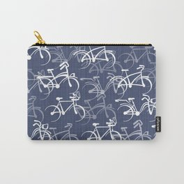Bicycles Pattern | Medium Warm Blue Carry-All Pouch