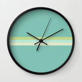 Treble Stripe in Aqua Blue and Lime Green. Minimalist Pattern Wall Clock