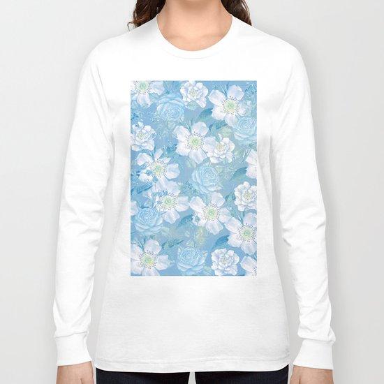 Blue Vintage Rose Pattern Long Sleeve T-shirt