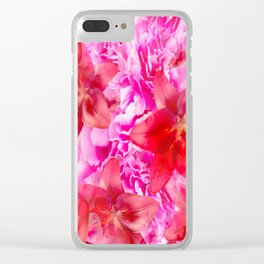 Peony And Lily Flower Bouquet In Vibrant Pink And Red Colors #decor #society6 #homedecor Clear iPhone Case
