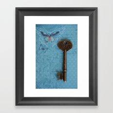 Heart Key Butterfly Framed Art Print