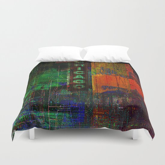 A night in Chicago Duvet Cover