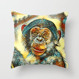 AnimalArt_Chimpanzee_20170602_by_JAMColorsSpecial Throw Pillow