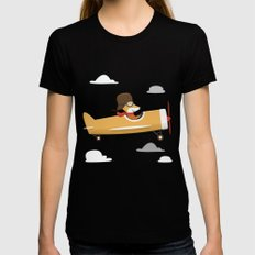 Mr. Fox is Flying LARGE Black Womens Fitted Tee